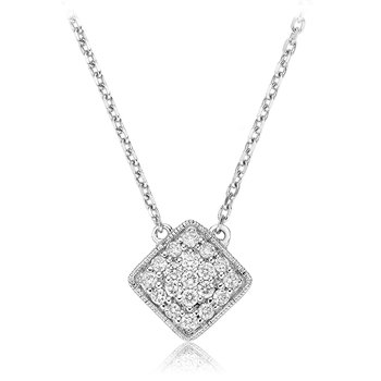 Pave Diamond Square Necklace