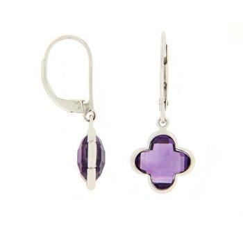 Amethyst Quatrefoil Drop Earrings