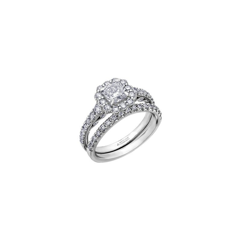 Maple Leaf Diamonds Tides of Love Cushion Halo Engagement Ring in White Gold