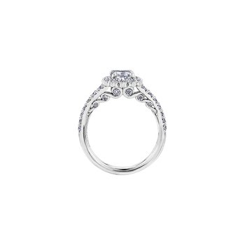 Tides of Love Cushion Halo Engagement Ring in White Gold