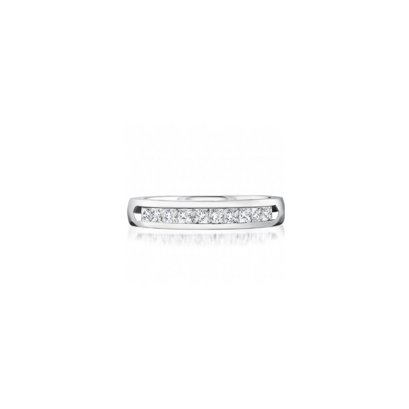 CrownRing Half Way Channel Set Princess Cut Diamond Band
