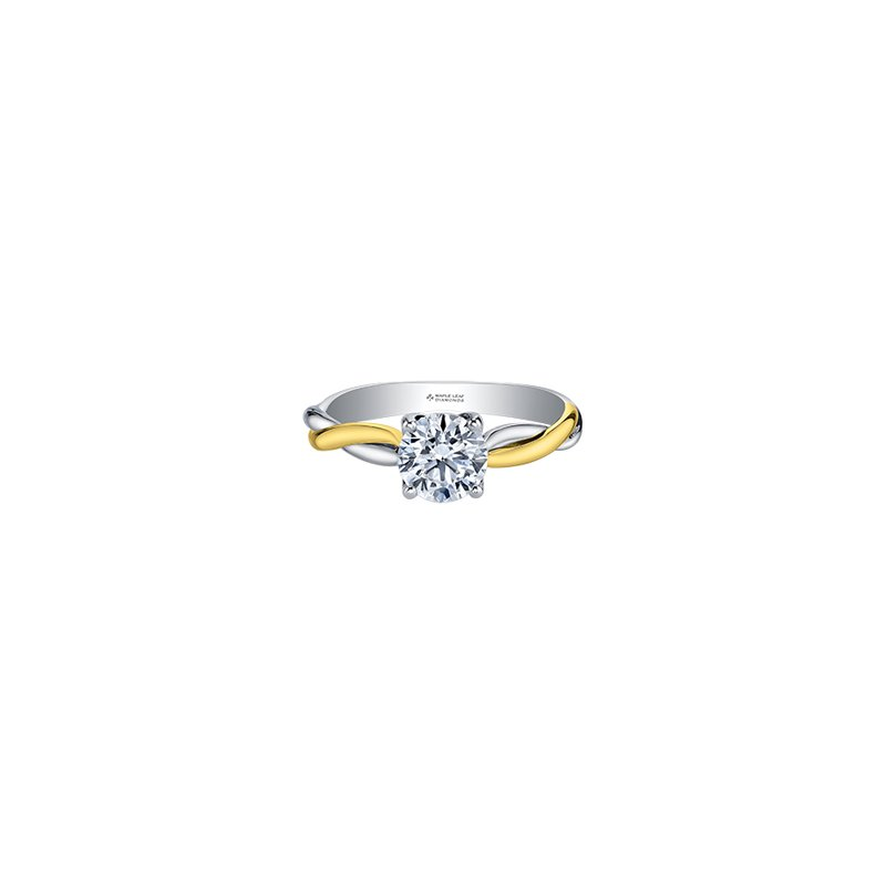 Maple Leaf Diamonds Twist Solitaire Engagement Ring in White and Yellow Gold