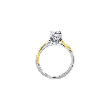 Twist Solitaire Engagement Ring in White and Yellow Gold