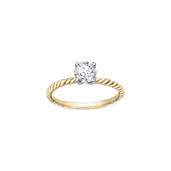 Eternal Flames Twist Solitaire Ring in Yellow Gold