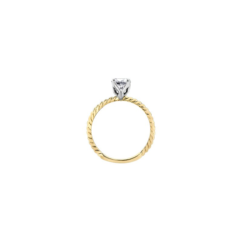 Maple Leaf Diamonds Eternal Flames Twist Solitaire Ring in Yellow Gold