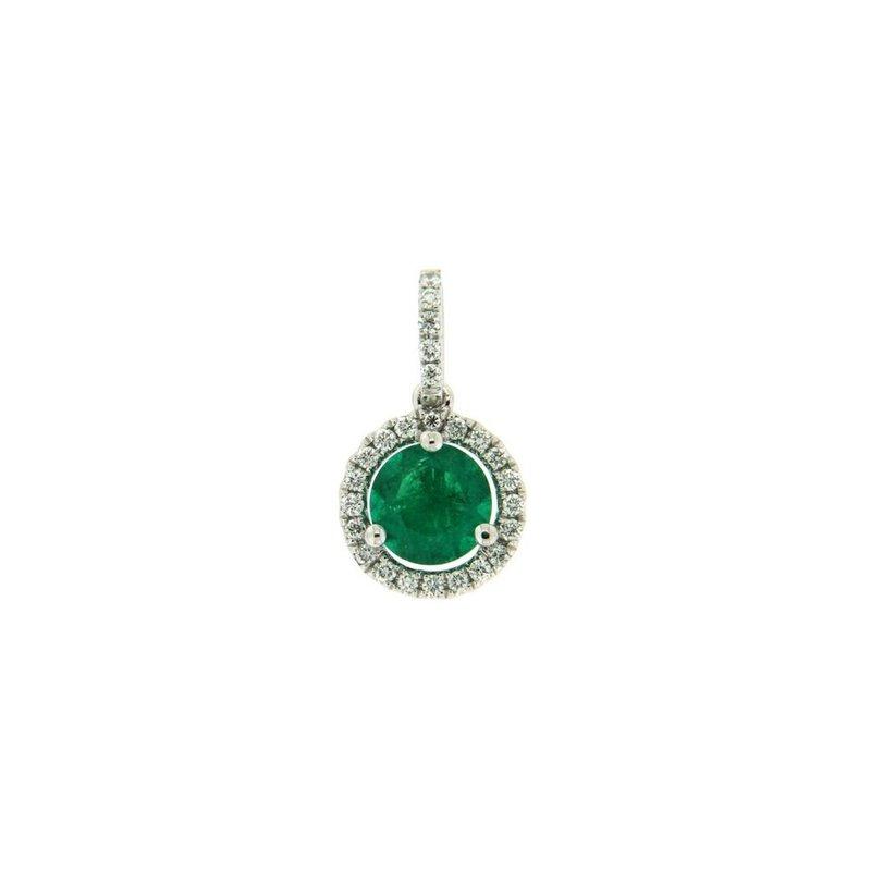 Davidson's Signature Emerald Halo Pendant
