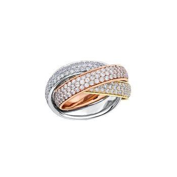 Three Colour Diamond Rolling Ring