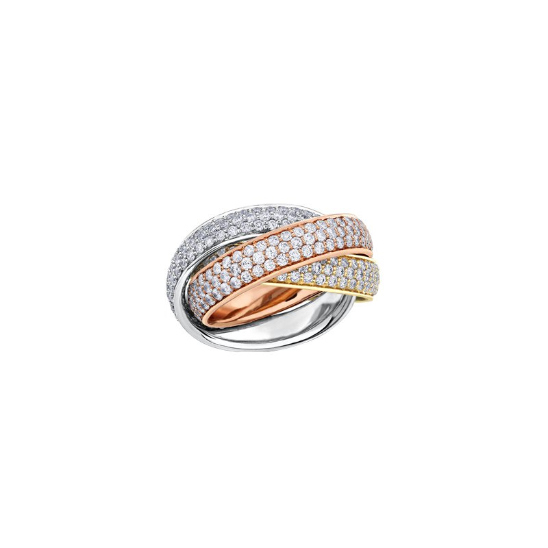 Maple Leaf Diamonds Three Colour Diamond Rolling Ring