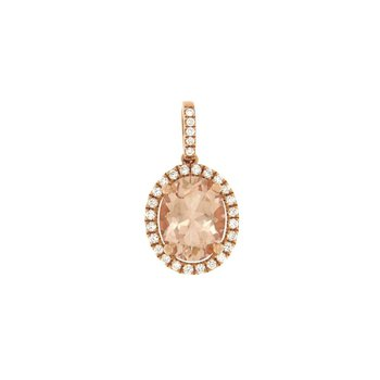 Morganite Oval Halo Pendant