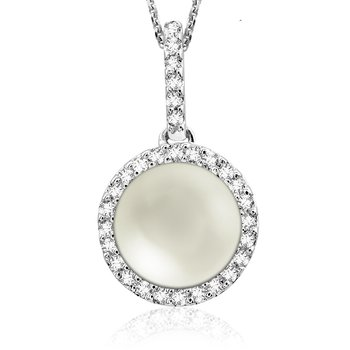 Diamond and Pearl Halo Pendant