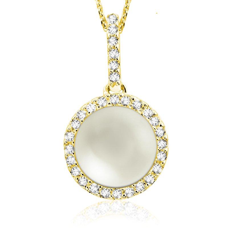 RnB Jewellery Diamond and Pearl Halo Pendant