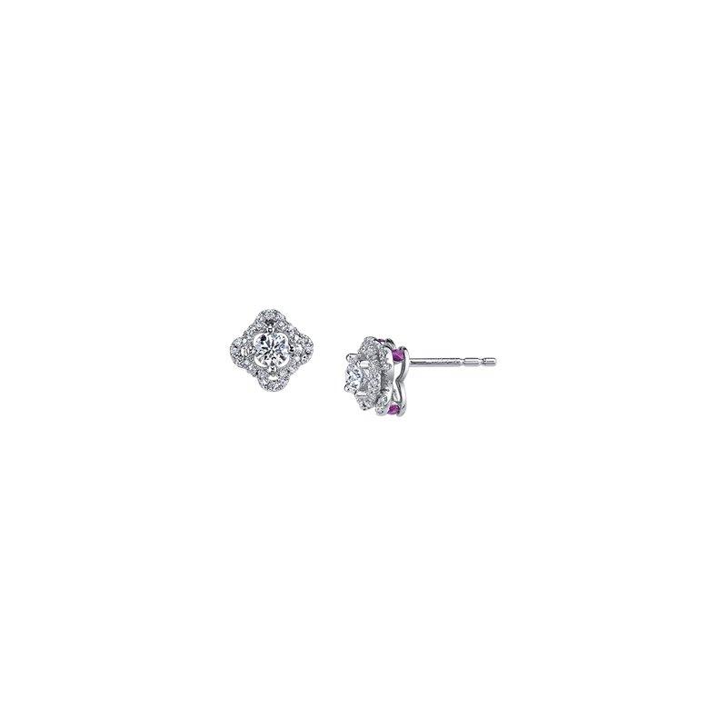 Maple Leaf Diamonds Adoration Diamond and Ruby Stud Earrings
