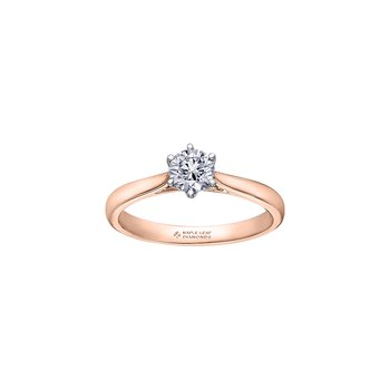 Eternal Flames 6 Prong Solitaire Ring in Rose Gold