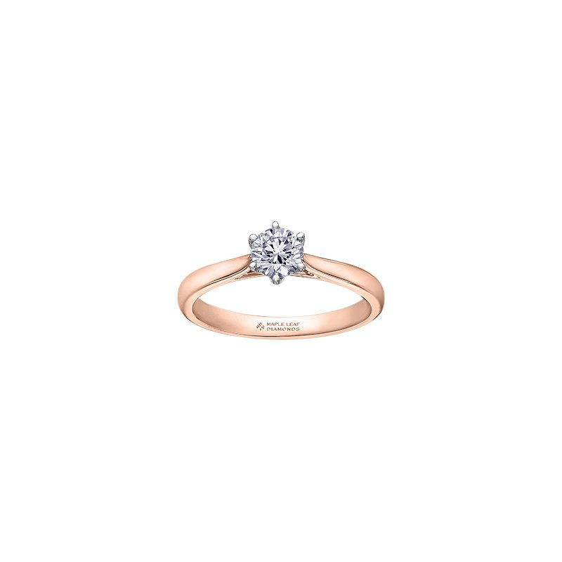 Maple Leaf Diamonds Eternal Flames 6 Prong Solitaire Ring in Rose Gold