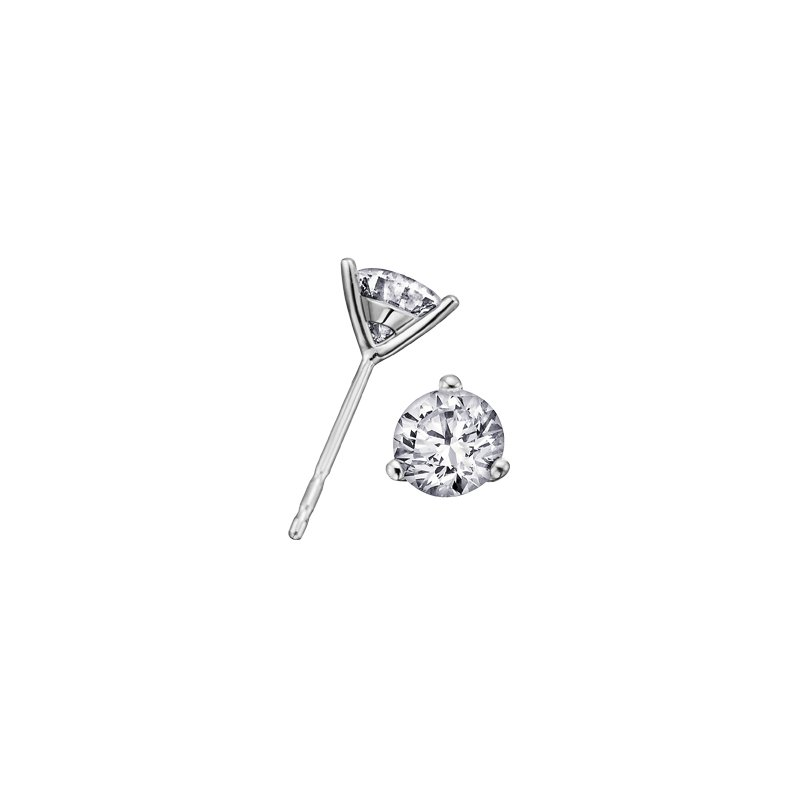 Maple Leaf Diamonds Three Prong Solitaire Stud Earrings