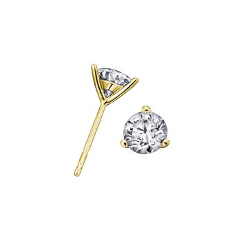 Three Prong Solitaire Stud Earrings