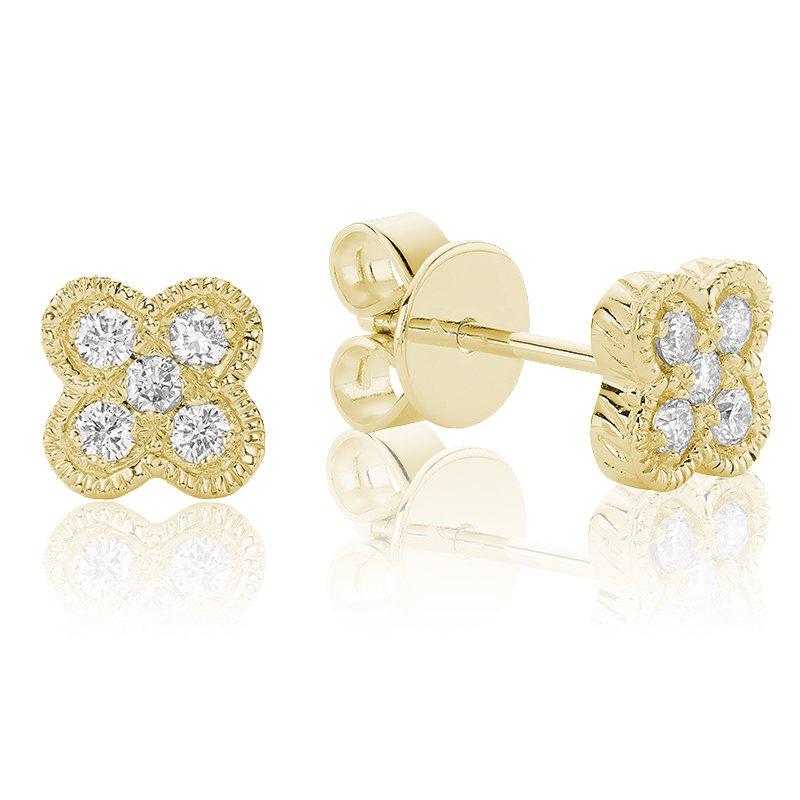 RnB Jewellery Diamond Treasures Quatrefoil Stud Earrings
