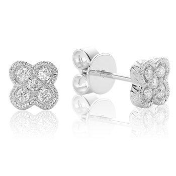 Diamond Treasures Quatrefoil Stud Earrings