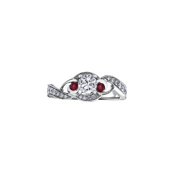 Adoration Diamond and Ruby Three Stone Engagement Ring