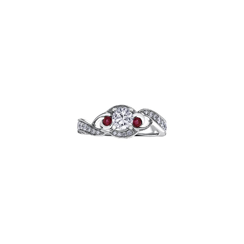 Maple Leaf Diamonds Adoration Diamond and Ruby Three Stone Engagement Ring
