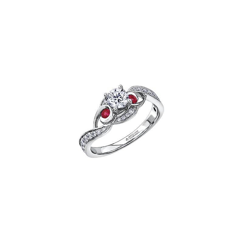 Maple Leaf Diamonds Adoration Diamond and Ruby Three Stone Engagement Ring