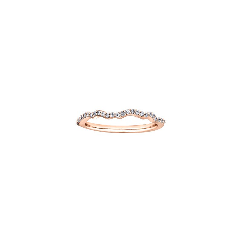Maple Leaf Diamonds Eternal Flames Wrapped Band Engagement Ring in Rose Gold