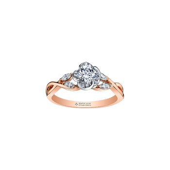 Wind's Embrace Rose Engagement Ring in Rose Gold