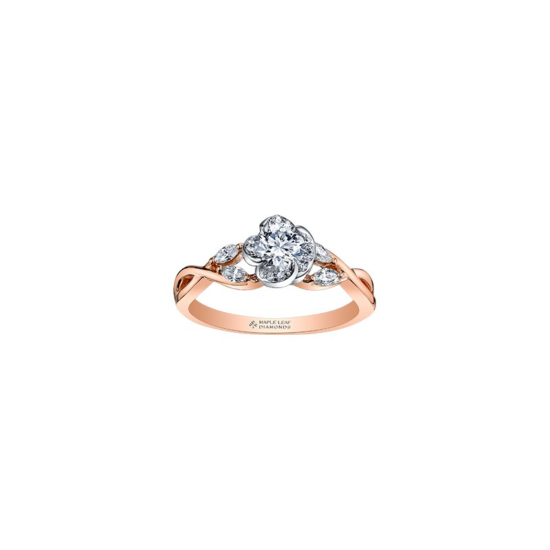 Maple Leaf Diamonds Wind's Embrace Rose Engagement Ring in Rose Gold