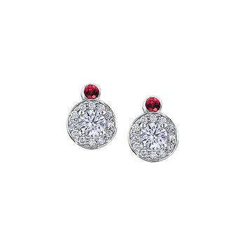 Adoration Ruby and Diamond Cluster Stud Earrings