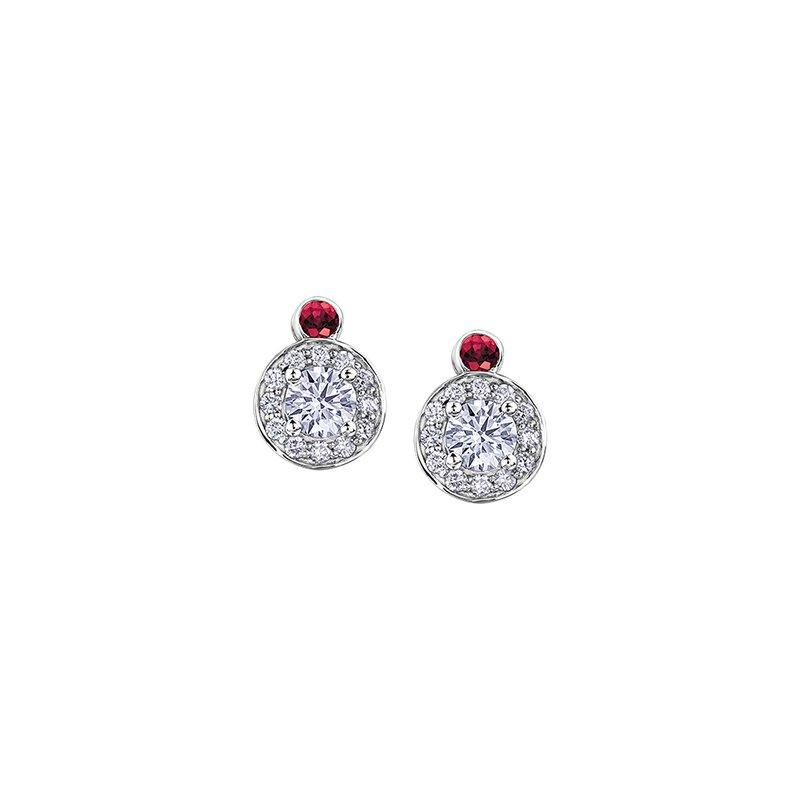 Maple Leaf Diamonds Adoration Ruby and Diamond Cluster Stud Earrings