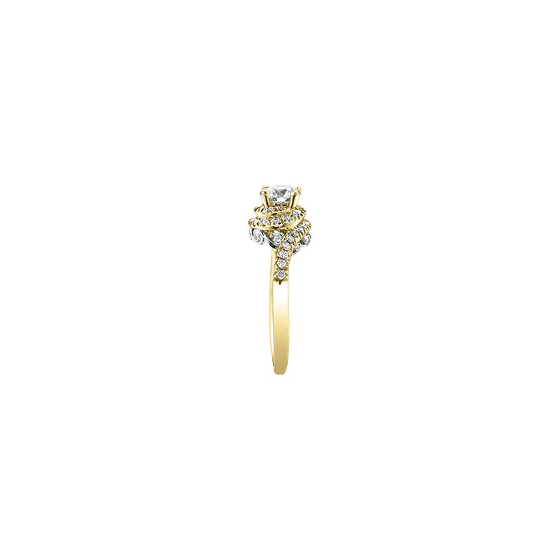 Maple Leaf Diamonds Tides of Love Bypass Engagement Ring in Yellow Gold