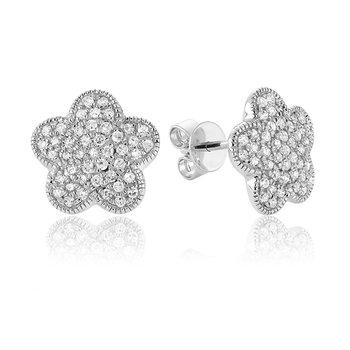 Pave Diamond Flower Stud Earrings