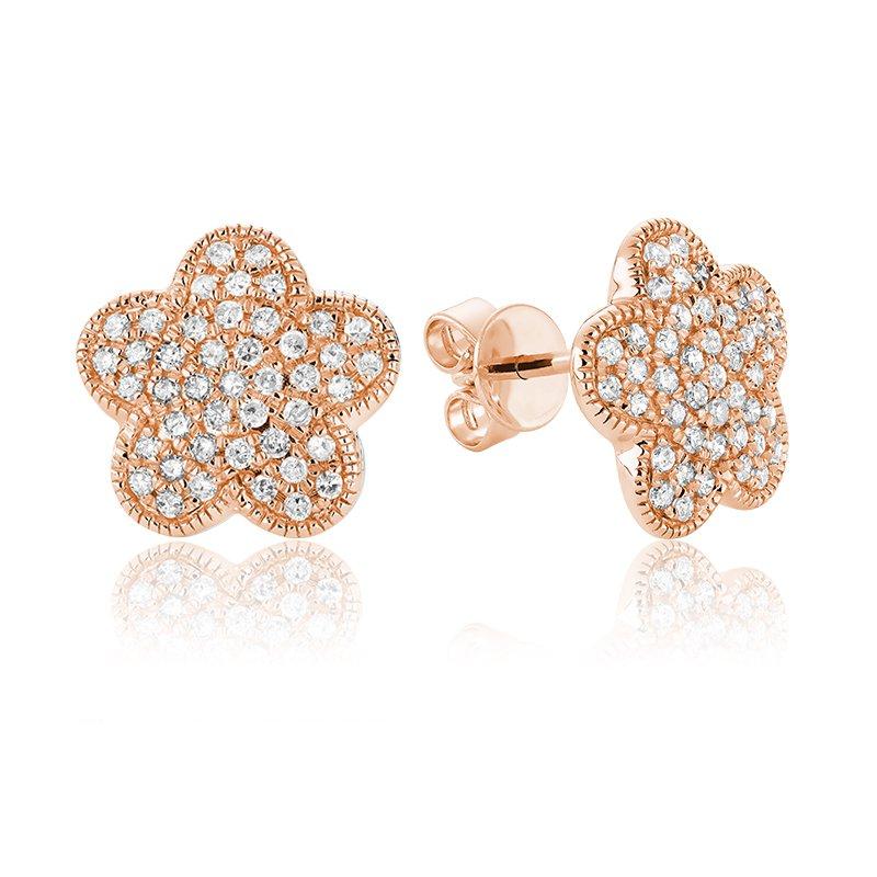 RnB Jewellery Pave Diamond Flower Stud Earrings