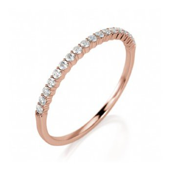 Half Way Diamond Set Shared Prong Band in Rose Gold