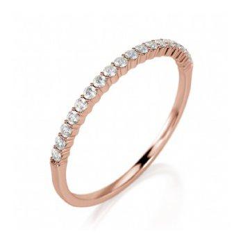 Half Way Diamond Set Shared Prong Band in Rose Gold