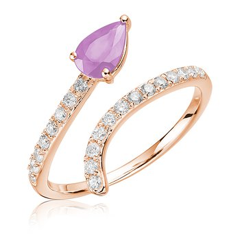 Pink Amethyst Cross Over Ring