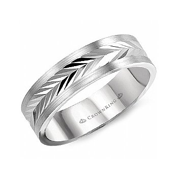 Carved Chevron Wedding Band