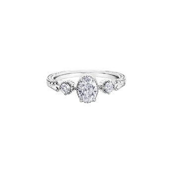 Oval Three Stone Engraved Engagement Ring