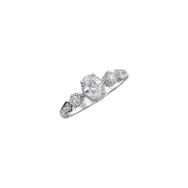 Maple Leaf Diamonds Oval Three Stone Engraved Engagement Ring