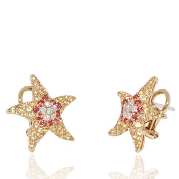 Starfish Stud Earrings with Sapphires and Diamonds