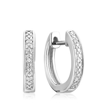 Diamond Bead Set Huggie Earrings