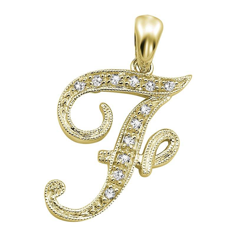 RnB Jewellery Script Initial Letter Pendants in Yellow Gold