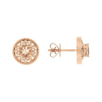 Vintage Inspired Morganite Stud Earrings