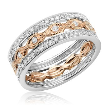 Two Tone Diamond Stacked Ring