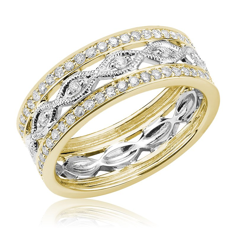 RnB Jewellery Two Tone Diamond Stacked Ring