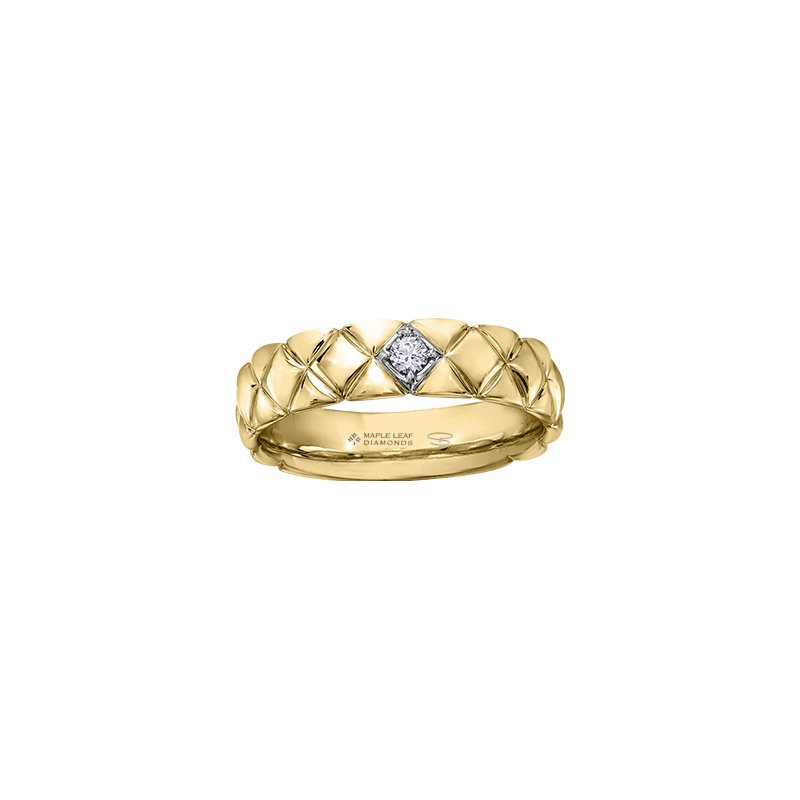 Maple Leaf Diamonds Quilted Down Wedding Band