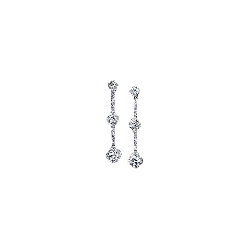 Maple Leaf Diamonds Wind's Embrace Long Drop Earrings