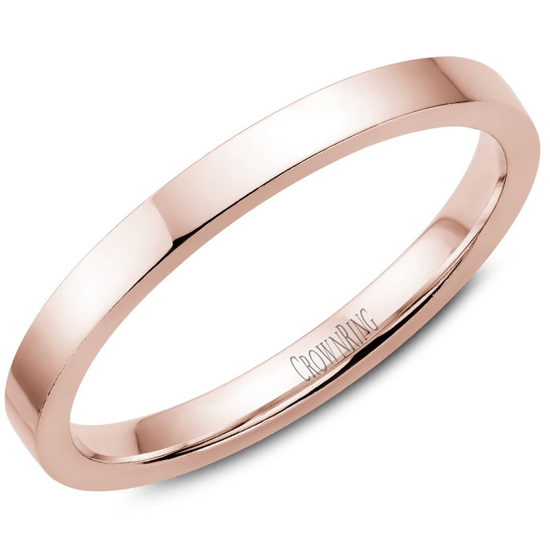 CrownRing Flat Wedding Band in Rose Gold