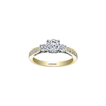 Eternal Flames 3 Stone Engagement Ring with Diamond Set Band in Yellow Gold