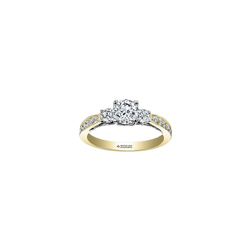 Maple Leaf Diamonds Eternal Flames 3 Stone Engagement Ring with Diamond Set Band in Yellow Gold